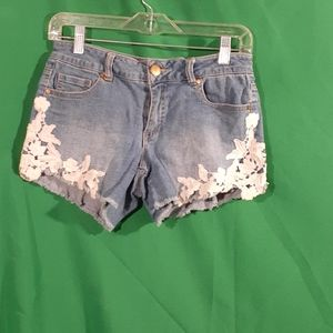 Copper key S embroidered lace fringe shorts